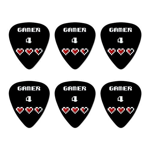 Gamer 4Life für Pixel Herzen Geek Neuheit Gitarre Plektrum Plektron Picks Stärke Medium–Set of 6 (Möbel Neuheit)