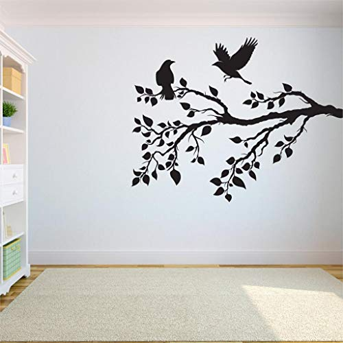 hetingyue Baum Wandtattoo Schlafzimmer Wurzel des Baumes des Lebens ist Vogel wegfliegen Dekoration Yoga Studio Dekoration 90x75cm