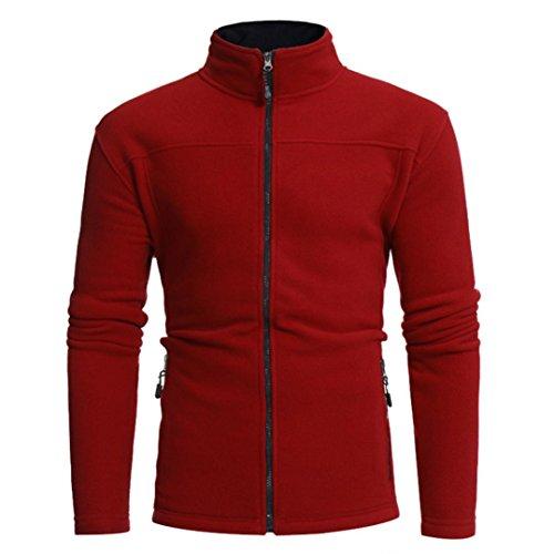 Preisvergleich Produktbild Jacke Herren Longra Männer Herbst Winter Jacke Polar Fleece Sweatshirt Herren Übergangsjacke Bomberjacke Fliegerjacke Militär Freizeitjacke Sportjacke (XL, Red)