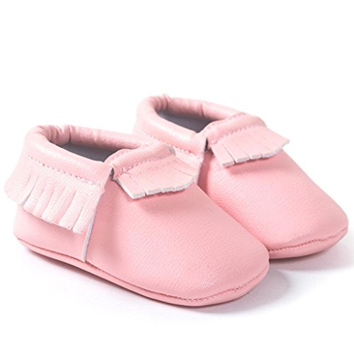 Clode® Premium Leder Lauflernschuhe Krabbelschuhe Babyschuhe weiche Sohle Krippe Schuhe Sneaker Neugeborene 0-18 Monate Rosa