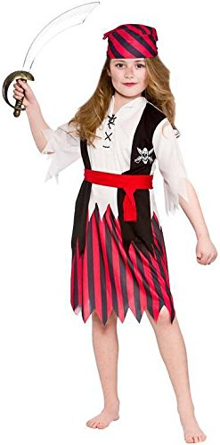 Girls Shipwreck Pirate Fancy Dress Up Party Costume Halloween Child Outfit Red