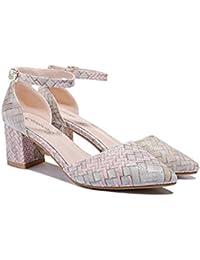 Zapatos De Colores Mezclados Primavera / Hebilla / Tacón Cuadrado / Zapatos De Plataforma De Mujer A Prueba De...
