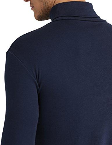Lower East Herren Slim Fit Rollkragen Shirt Blau (Navy)