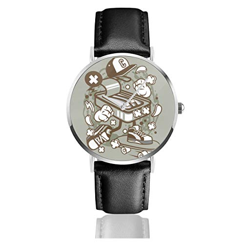 Armbanduhr Sardine Skater Cartoon Quarzuhr für Männer und Frauen Casual Uhren mit schwarzem Lederband