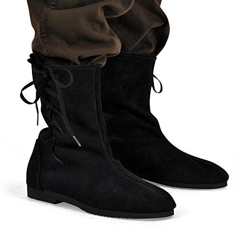 Chaussures Moyen-Âge - Botte à revers avec cordelette - Daim - Made in Germany - Noir Noir