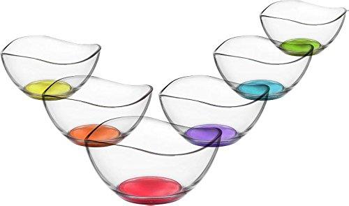 LAV 6tlg Glasschalen Vira mit farbige Boden Schalen Glasschale Dessertschale farbige Glasschale Vorspeise Glas Gläser 310ml