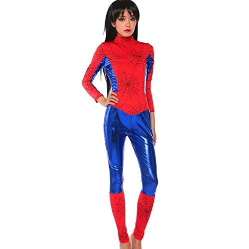 (WU LAI Kunstleder Katze Damen Overall Stretch PVC Strumpfhosen Sexy Siamesische Unterwäsche Spider-Man-Kostüm,Red-XL)