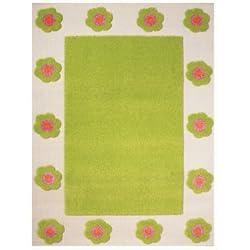 Little Helper 121RN030YE80153 Hypoallergener hochfloriger und hochwertiger Teppich - Design Sommergarten, 80 x 150 cm, grün