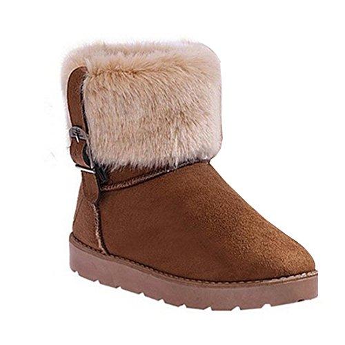 Minetom Damen Mode Schneestiefel Warm Winter Boots Biker Schneestiefel Kamel