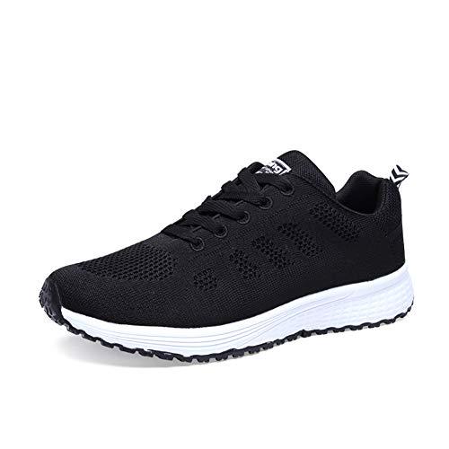 Orktree Damen Sneaker Fitness Laufschuhe Sportschuhe Schnüren Running Schuhe Herren Ultra-Light Turnschuhe, Schwarz, 38 EU