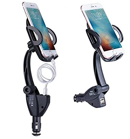 ALAIX Car Phone Mount 3 in 1 Car Cradle Universal Smartphone Holder with Dual USB Cigarette Lighter Charger for Mobil Deviece