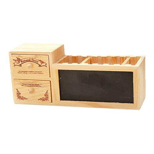 Cosanter Holz Tischorganizer ( inkl. 1 Tafel,3 Stift Löcher und 2 Holz Schublade) (Mesh-schublade-storage Box)