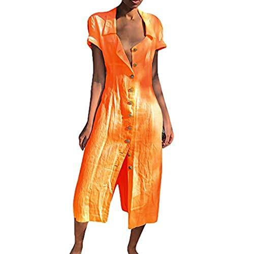 r Damen Lange Kleid,beiläufige T-Shirtkleid,Kurzarm Sommerkleid Feste beiläufige Knopf-Kleid-Hülsen-lose (EU 48(Tag XXXXXL), Orange-1) ()