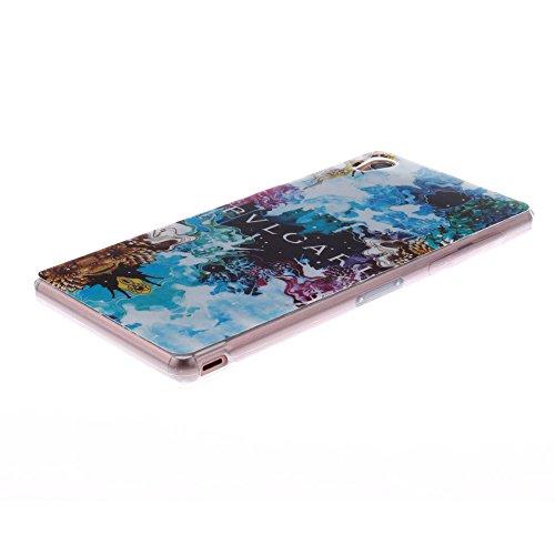 Sony Xperia Z3 (D5803 D5833) hülle MCHSHOP Ultra Slim Skin Gel TPU hülle weiche Silicone Silikon Schutzhülle Case für Sony Xperia Z3 (D5803 D5833) - 1 Kostenlose Stylus (Löwenzahn sich verlieben (Dand mandel blumen baum mit blauem hintergrund (almond flow