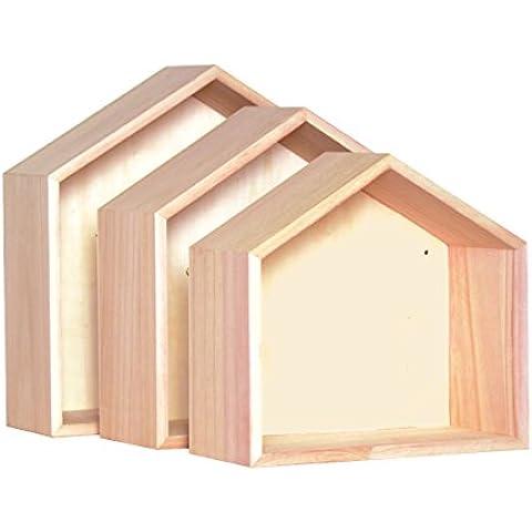 Artemio - Estantes de madera para pared (3 unidades), color beige