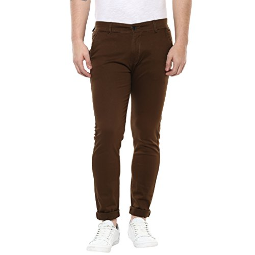 Routeen Brown 100% Cotton Lycra Casual Slim Fit stretchable Chinos Trousers pants for Men