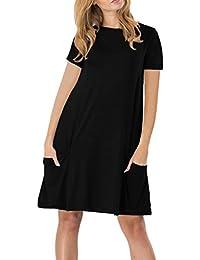 YMING Femme Robe Manches Courtes en Vrac Chemise Loose Longue T-Shirt Midi Robe 24 Couleur,XS-XXXXL(34-52)