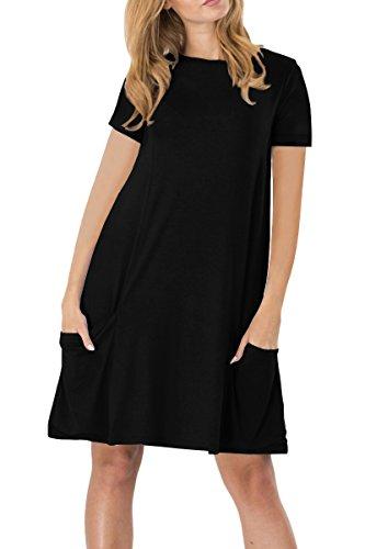 YMING Damen Kleid für Frühling Herbst Casual Blusenkeid Lose Kurzarm Tunika mit Taschen,Schwarz,XL / DE 42-44 (Tunika Print Schwarze)