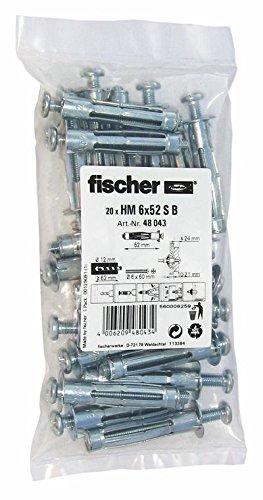 fischer HM 6x52 S - Hohlraum-Metalldübel mit Schraube zum Befestigen von Bildern, Gardinenschienen in Plattenbaustoffen - 20 Stück - Art.-Nr. 48043