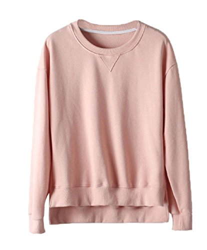 Yieune Sweater Women Casual Jumper Long Sleeve Pullover Sweatshirt Cotton Tops (Pink XXL)