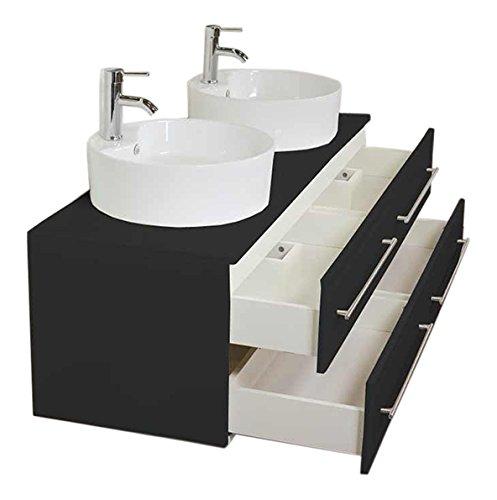 #emotion Badmöbel Novum XL schwarz seidenglanz mit Aufsatzwaschbecken#