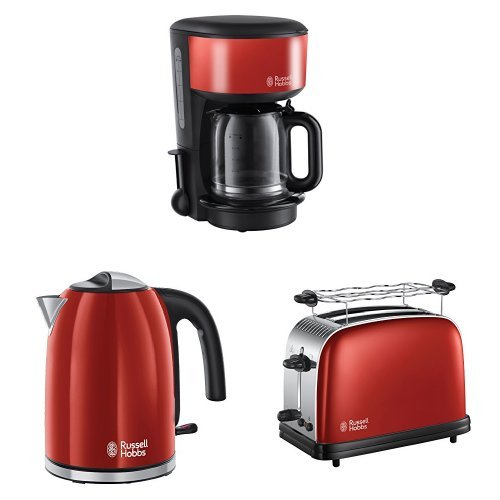 Russell Hobbs 20131-56 Colours Plus+ Flame Red Glas-Kaffeemaschine + Colours Plus+ Flame Red Wasserkocher + Colours Plus+ Flame Red Toaster