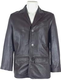 UNICORN Hombres Genuino real cuero chaqueta Estilo clásico Blazer traje Marrón #A4