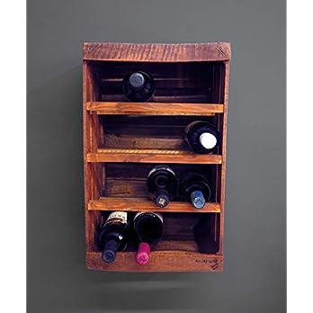 Flaschenhalter aus Holz //Obstboxenalte // Weinregal // Holz Flaschenregal mit 4 Ebenen für 12. Flaschen Wein kleiner…
