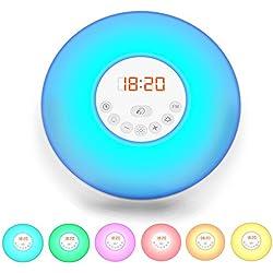 Radio-Réveil LED, réveil lumineux 7 couleurs, simulation lever/ coucher du soleil, 5 sonneries sons nature, radio FM digital, lampe de chevet, veilleuse, fonction tactile, 230V