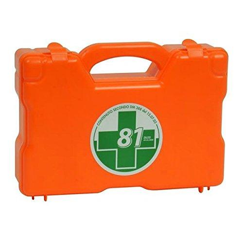 Valigetta MEDIC 4 colore arancio, realizzata in polipropilene antiurto con fori sul retro per attacco a parete, maniglia per il trasporto e chiusura ermetica con 2 clip a scatto. Completa di materiale sanitario tra cui l'apparecchio per la misurazion...