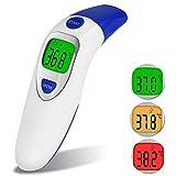 YSCYLY Stirn und Ohr-Medizinisches Baby-Thermometer-Digital Genaues Infrarotfieber-Hauptmedizinische Multifunktions-Ohr-Thermometer-Gewehr (Blau)