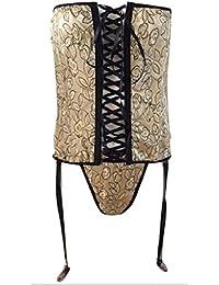 Underwear lingerie femme sexy bustier corset à jarretelles Sanselle noir doré fleuri