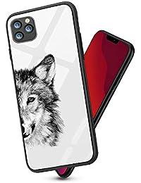 Alsoar Compatible para iPhone 11 2019 (6.1 Inch) Funda Silicona TPU Suave Bumper Protector Carcasas y Trasera Moda Degradado Cristal Templado Cubierta Fina Anti-Arañazos Caso (Lobo)