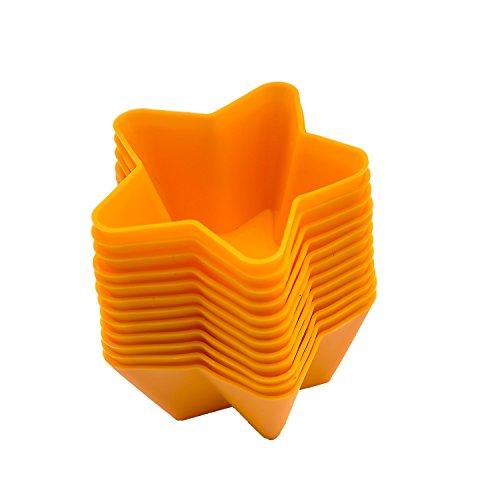 beicemania Gelb Cupcake Formen Muffinförmchen Muffinform Silikon Stern 7cm 12er Gift Pack