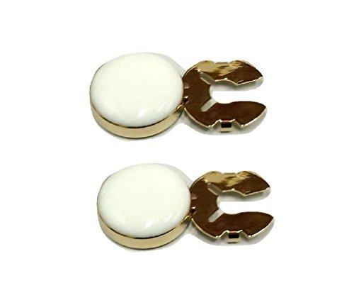 L & L 2 x Herren Manschettenknöpfe Knopf Abdeckungen Manschettenknöpfe Hochzeit ein paar - Weiß, 15mm Golden Colour Base (Mini)
