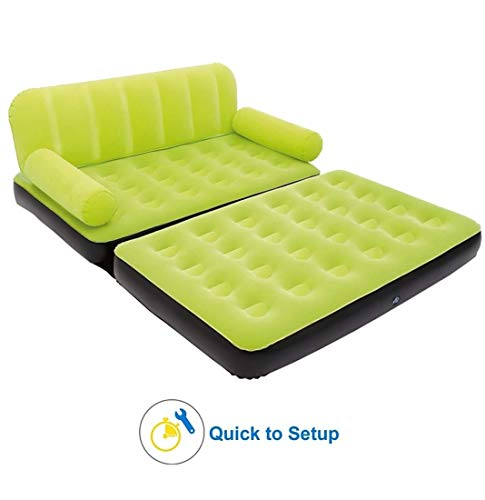 Shoppion 5 in 1 Inflatable Three Seater Queen Size Sofa Cum Bed with Pump(Green)