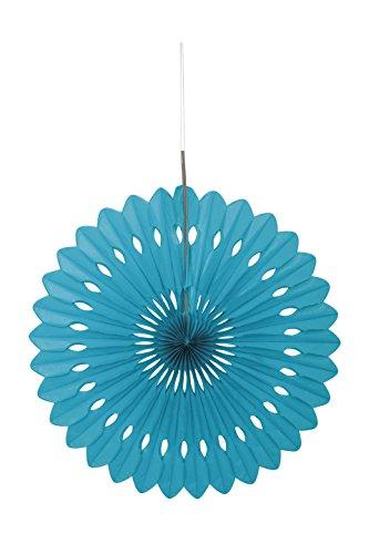 Unique Party Supplies Seidenpapier-Fächer, rund, Dekoration, 40 cm, Papier, blaugrün, 40,6 cm