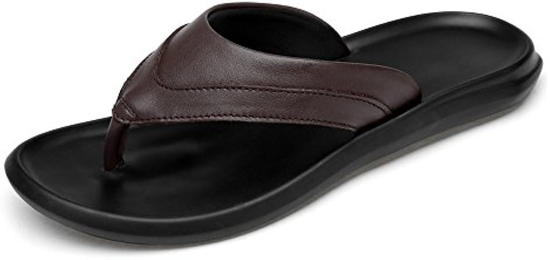 Ruanyi Chancletas de la Correa de los Zapatos, Zapatillas de Playa de Cuero Genuino Ocasionales de los Hombres...