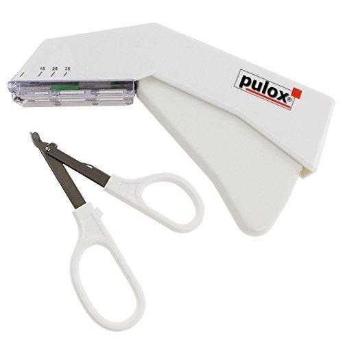 Pulox Einweg Hautklammergerät Steril + Entferner (Set) Einweginstrument mit 35 Klammern Hautklammer und Klammerentferner - Sterile Wundverschluss