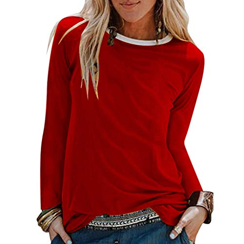 OHQ Damen Langarmshirt Hemd Bluse Mit Rundhalsausschnitt Shirt T-Shirt Tunika Tops Einfarbig Oberteil Pullover Sweatshirt Pulli Hemdbluse Streetwear Cardigan Jacke Kleidung