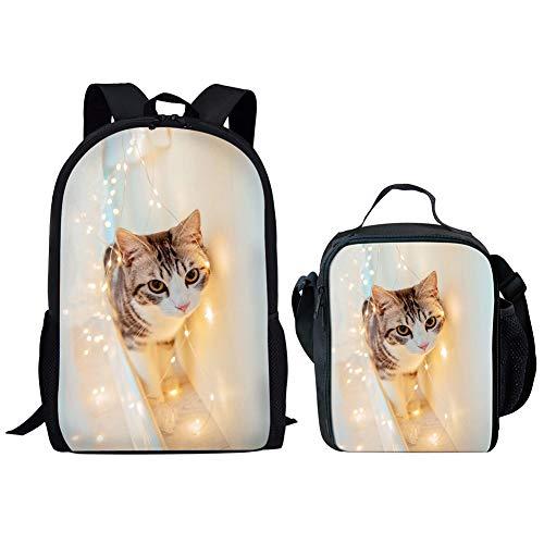 POLERO Amerikanisch Kurzhaar-Kleinkind-Kinder-Mittagessen-Taschen-Beutel kühler Outdoor Sport Lunchboxest + Schulranzen mit Same Pictures 2 PCS (Nette Katze) -