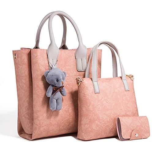 EggshellHome Dreiteilige Einzelne Schulter Diagonale Tasche Handtasche Damenmode PU Verschleißfesten Licht,Rosa -