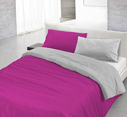 Datex Funda nòrdica Fucsia/Gris 1 Plaza (150 x 200 cm + 52 x 82 cm)