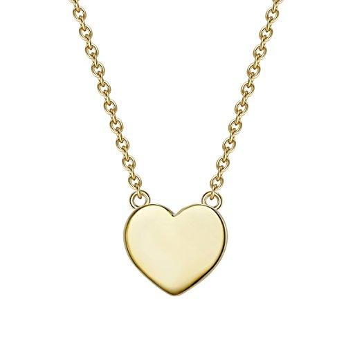 Glanzstücke München Damen-Silberhalskette mit Anhänger Herz Sterling Silber gelbvergoldet 40 + 5 cm lang - Silberkette Herzkette Modern-Kette mit Herz-Anhänger