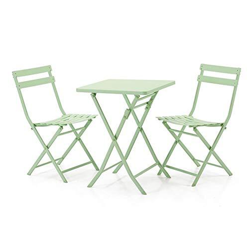Tische 3 Stück Klapptische Stühle im Freien Metall Patio Bistro-Set Gartenmöbel Cocktail Stehtische CJC (Color : Green, Size : Square Table)
