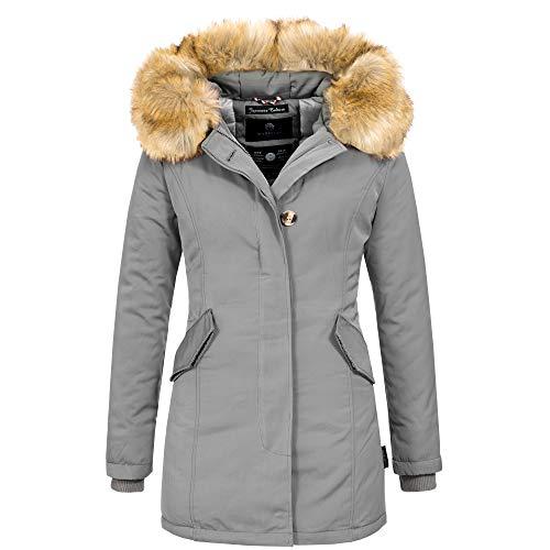 Marikoo KARMAA Damen Jacke Parka Mantel Winterjacke Warm gefüttert Luxus XXL Kunstpelz 13 Farben XS-XXXXXL
