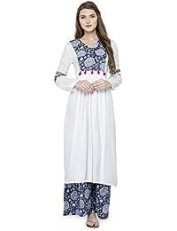 Natty India White And Blue Printed Cotton Women's (Kurti & Palazzo Set)
