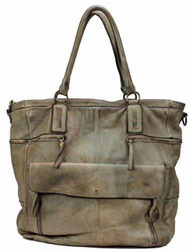 BZNA Bag Boney taupe Italy Designer Damen Handtasche Ledertasche Schultertasche Tasche Leder Shopper Neu