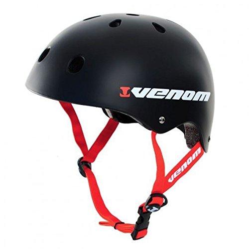 Schwarzer Fahrradhelm von Venom für Skateboard, BMX, Scooter, Roller Skating, Skateboard-Räder, schwarz, M
