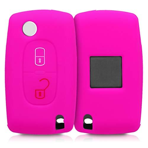 kwmobile Autoschlüssel Hülle für Peugeot Citroen - Silikon Schutzhülle Schlüsselhülle Cover für Peugeot Citroen 2-Tasten Klapp Autoschlüssel Pink